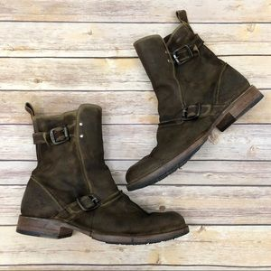 Frye Brown Leather Buckle Moto Boots